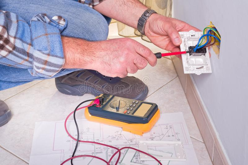 Electrician working in the electrical plant. royalty free stock image