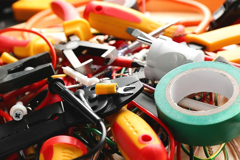 Electrician's supplies on table, closeup stock images