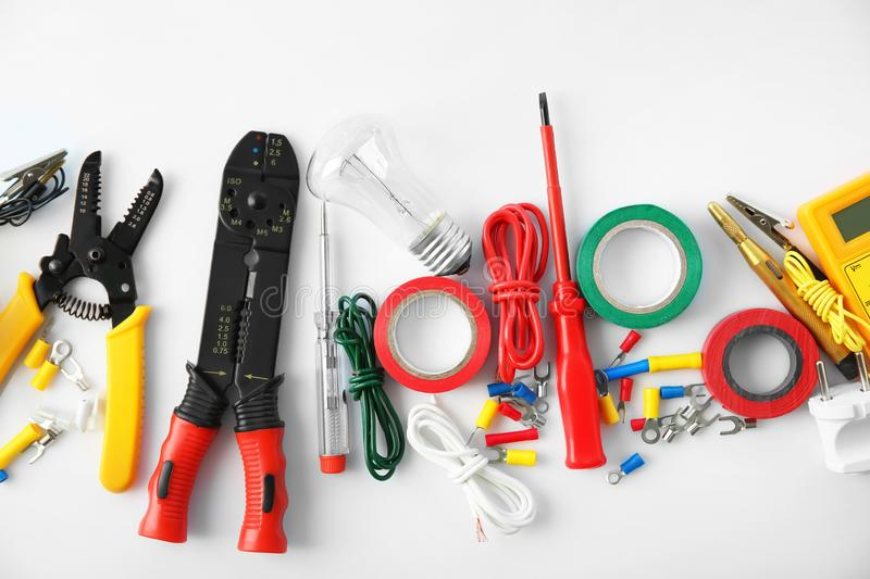 Electrician\'s supplies on white background royalty free stock image