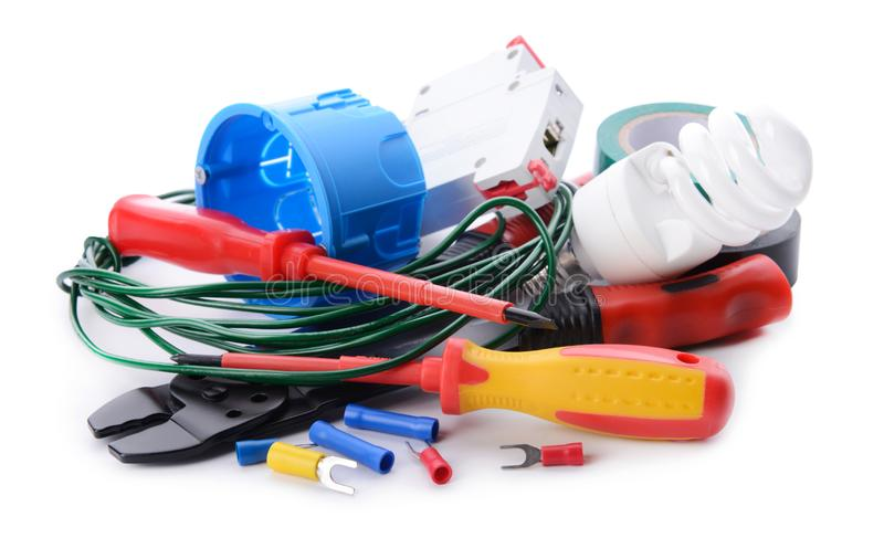 Electrician\'s supplies on white background royalty free stock photos