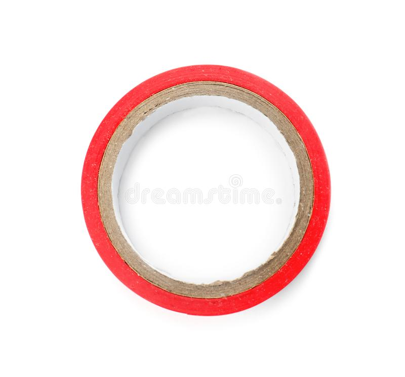 Electrician`s tape on white background. Top view royalty free stock photo