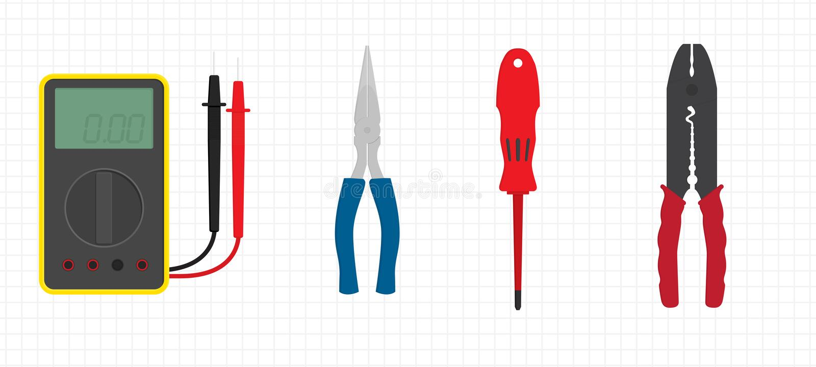 Download Electrician's Tools stock vector. Illustration of grey - 17019738