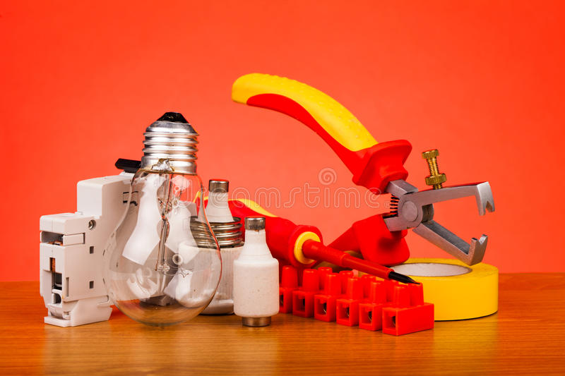 Electrician's tools royalty free stock photography