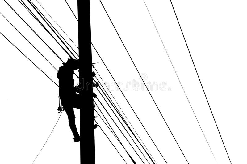 worker silhouette power line post stock images