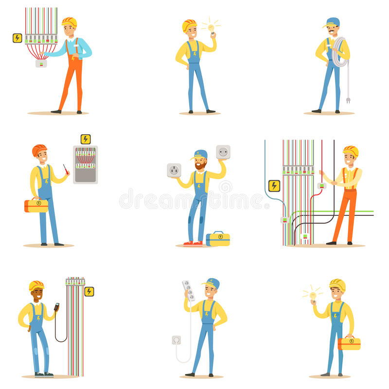 Electrician Specialist With Electric Wires At Work Doing Wireman Repairs Set Of Cartoon Character Scenes. Vector Illustration With Happy Electricity Technician stock illustration