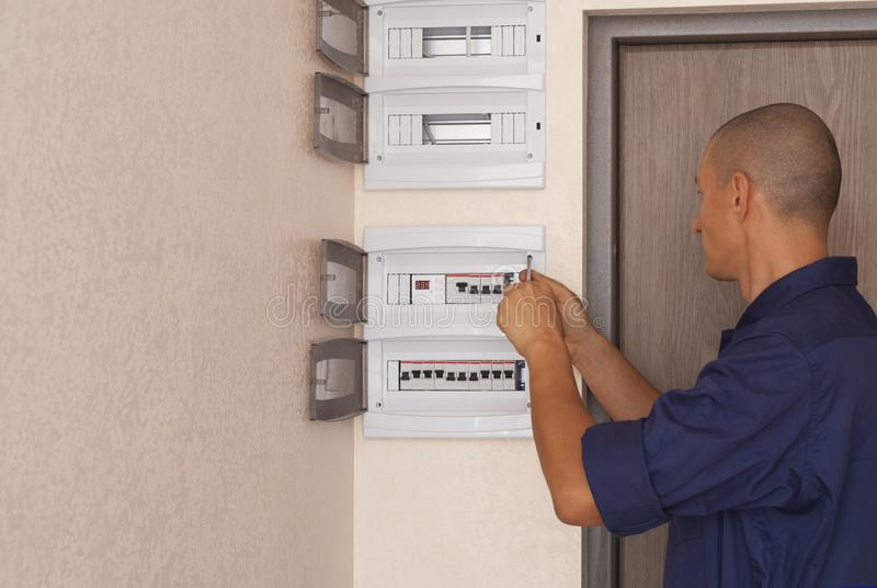Electrician and switchboard stock image