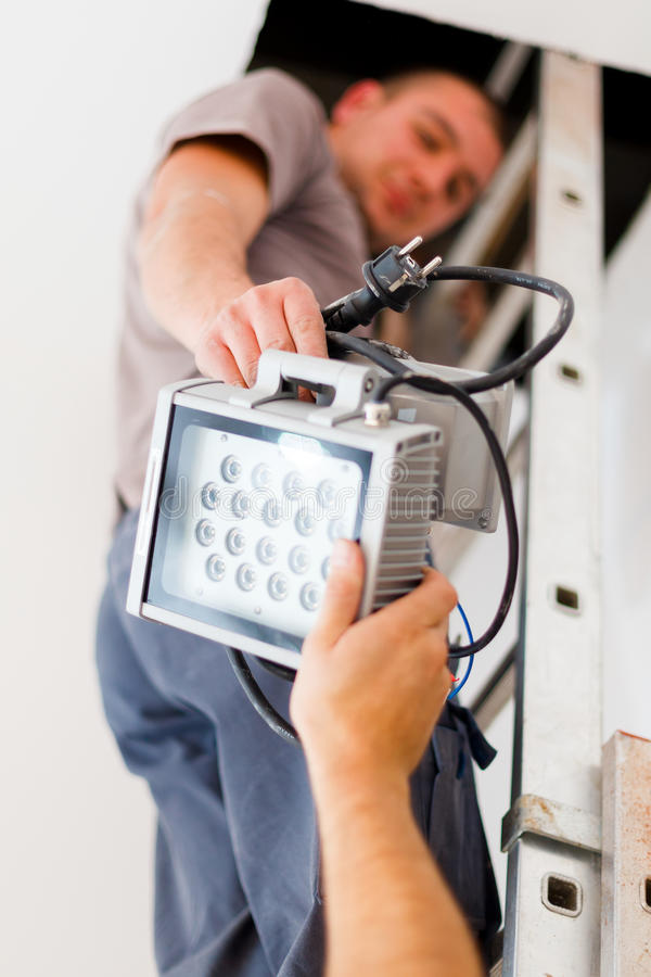Electrician Teamwork royalty free stock photography