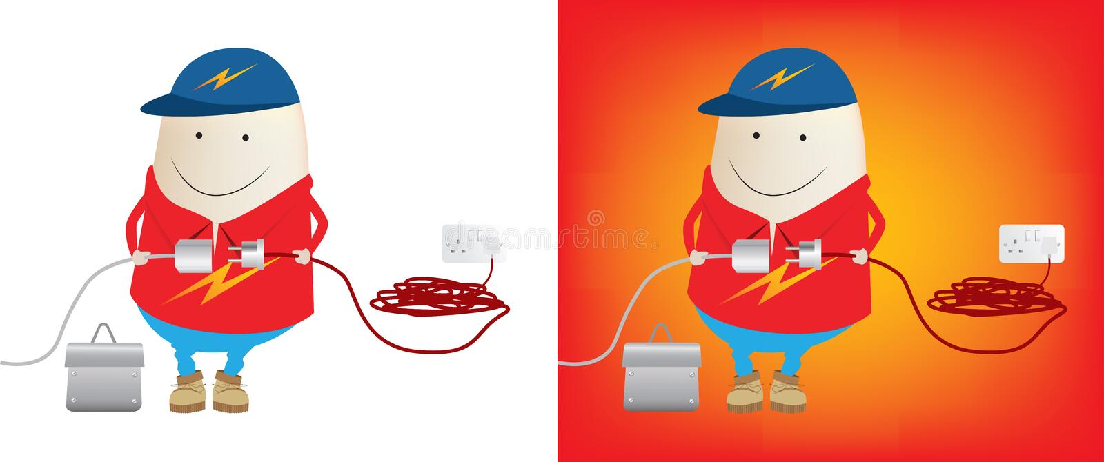Electrician about to connect power royalty free illustration