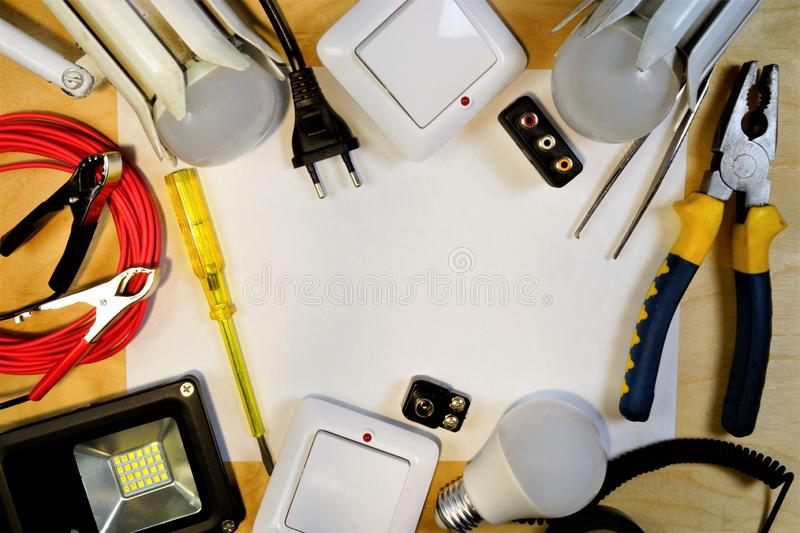 Electrician tool, frame of appliances for repair on white background. A set of tools for high-quality industrial repair of royalty free stock images