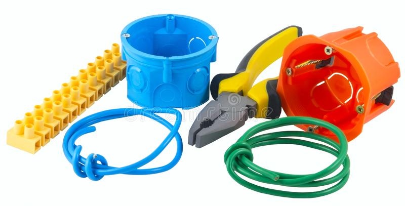 The new Electricians tools royalty free stock photo