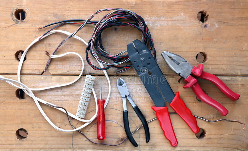 Electrician tools royalty free stock photo