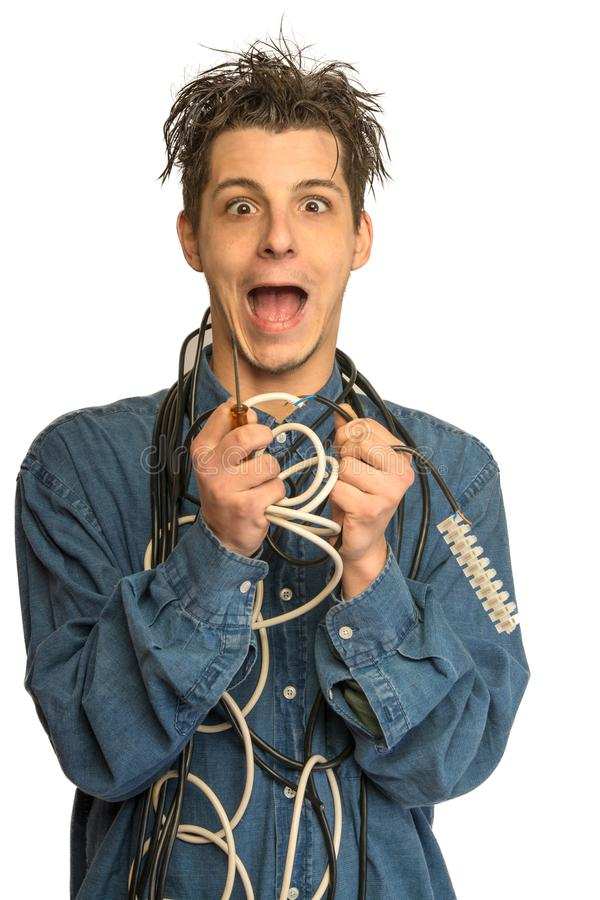 Electrician in trouble royalty free stock photography