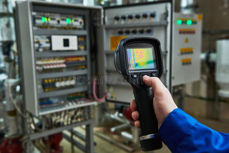 Thermal imaging inspection of electrical equipment stock photos