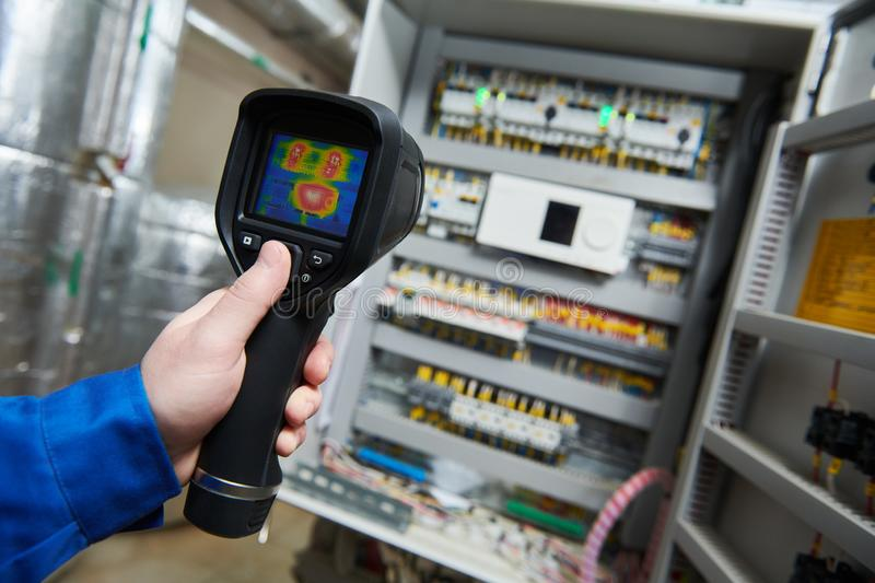 Thermal imaging inspection of electrical equipment royalty free stock photography