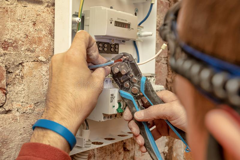 Close-Up Of Electrician Work stock images