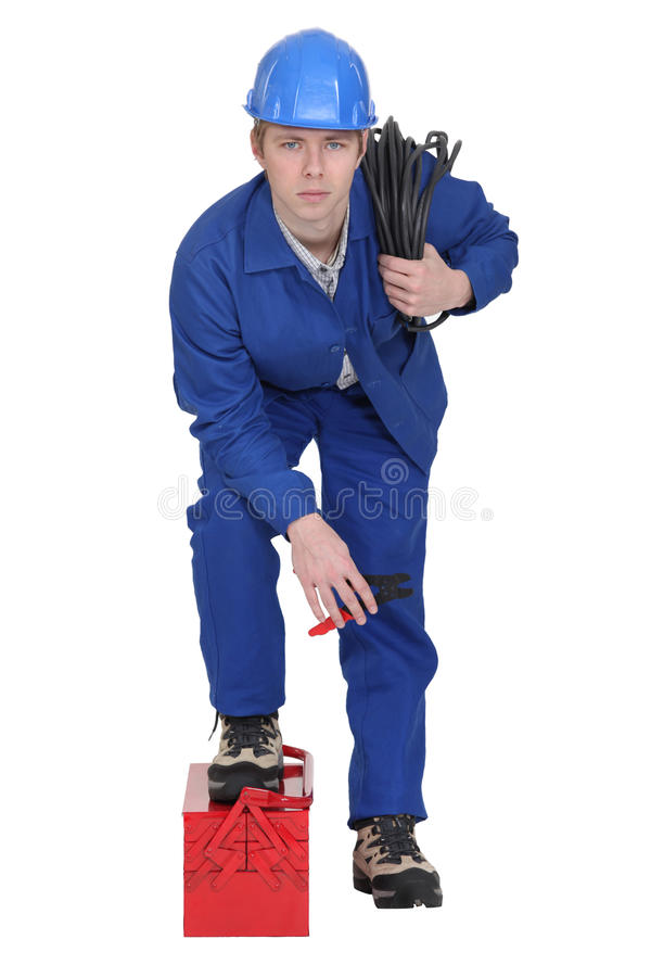 Download Electrician with wiring stock image. Image of isolating - 28297585