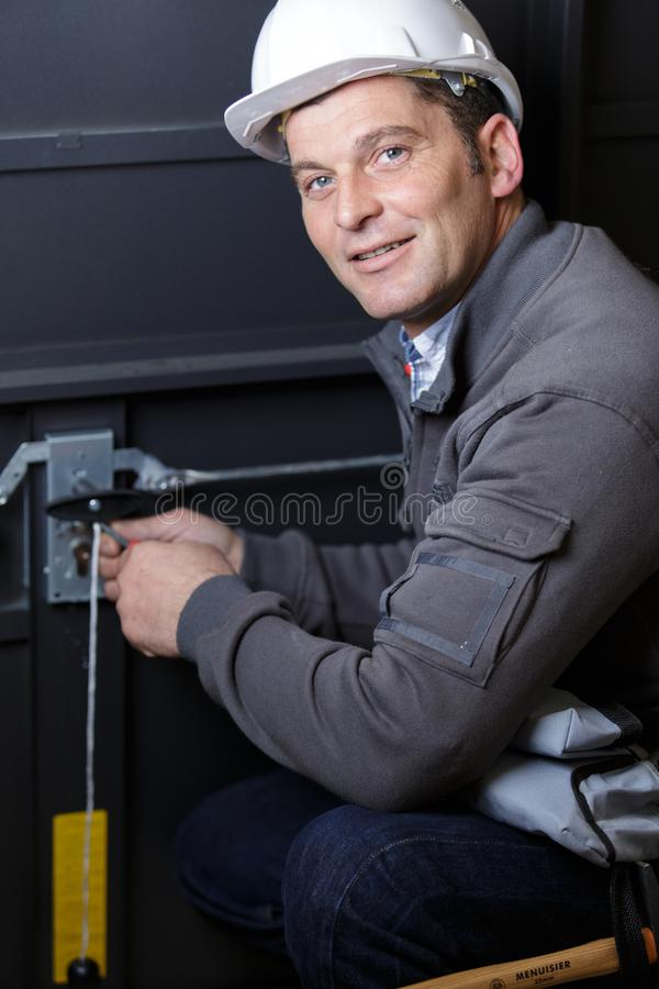 Electrician at work stock image