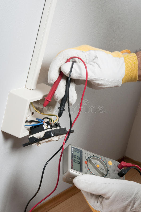 Electrician at work royalty free stock photos