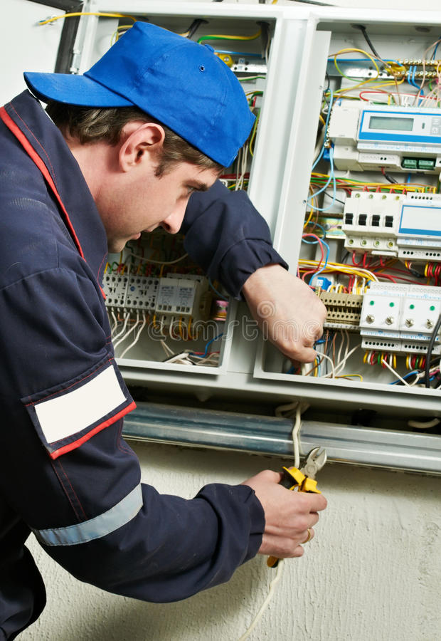 Download Electrician at work stock photo. Image of panel, mechanic - 20261312