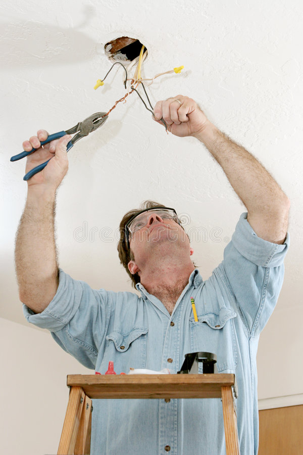 Download Electrician At Work stock image. Image of ceiling, blue - 893713