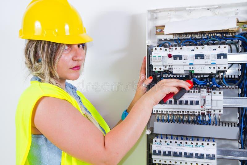 Electrician at work stock photos