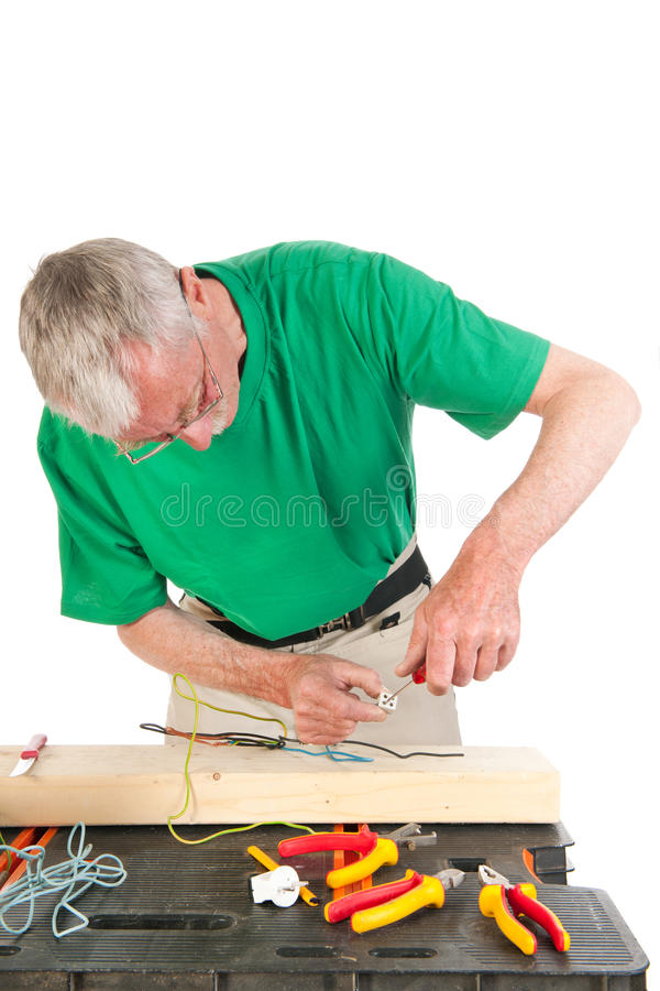 Download Electrician at work stock image. Image of senior, white - 33487265