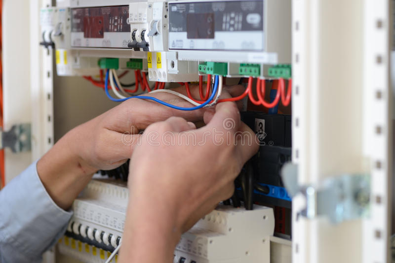 Electrician at work royalty free stock image