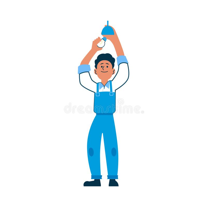 Electrician or worker in overalls install or change a light bulb. Electrician or worker in overalls install or change a light bulb, isolated vector illustration vector illustration