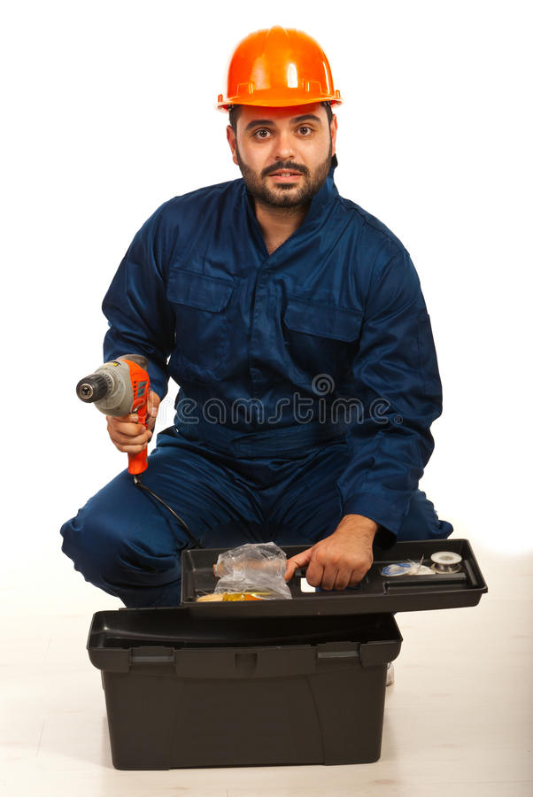 Electrician worker with tool box. Electrician worker with toold box isolated on white background stock image