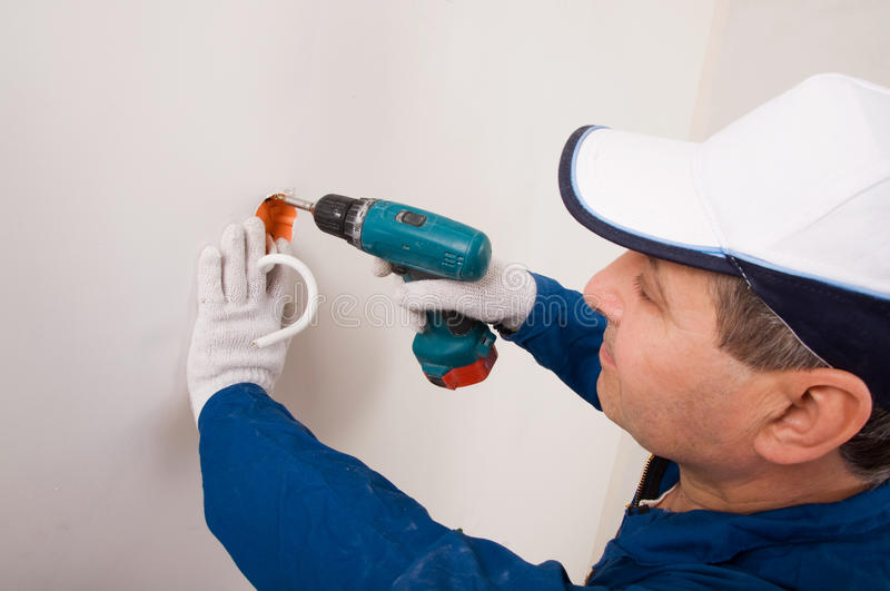 An electrician working royalty free stock photos