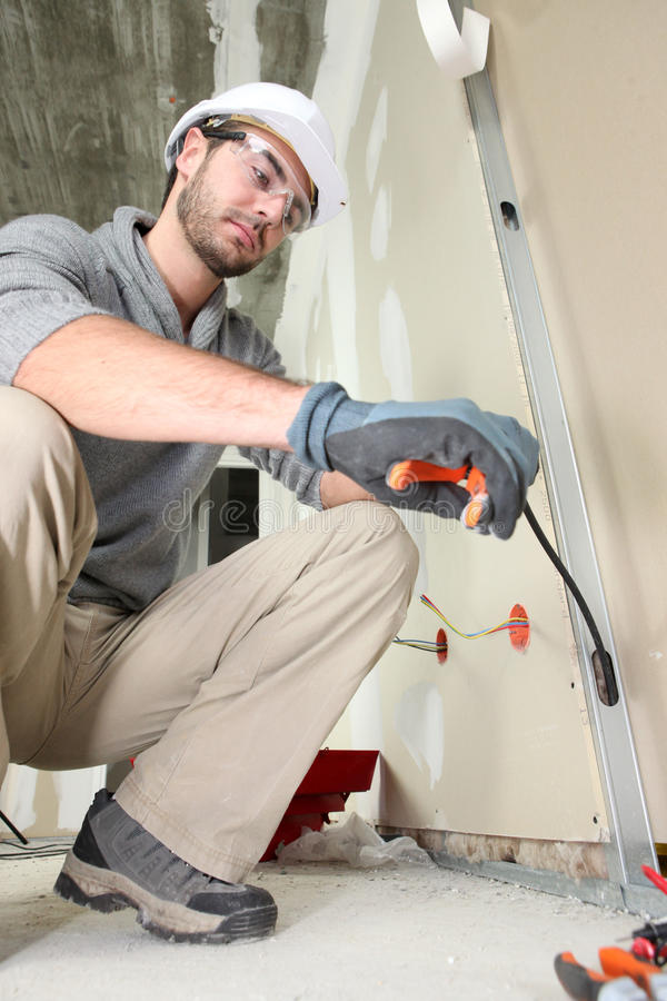 Free Electrician Working Royalty Free Stock Photos - 24375638