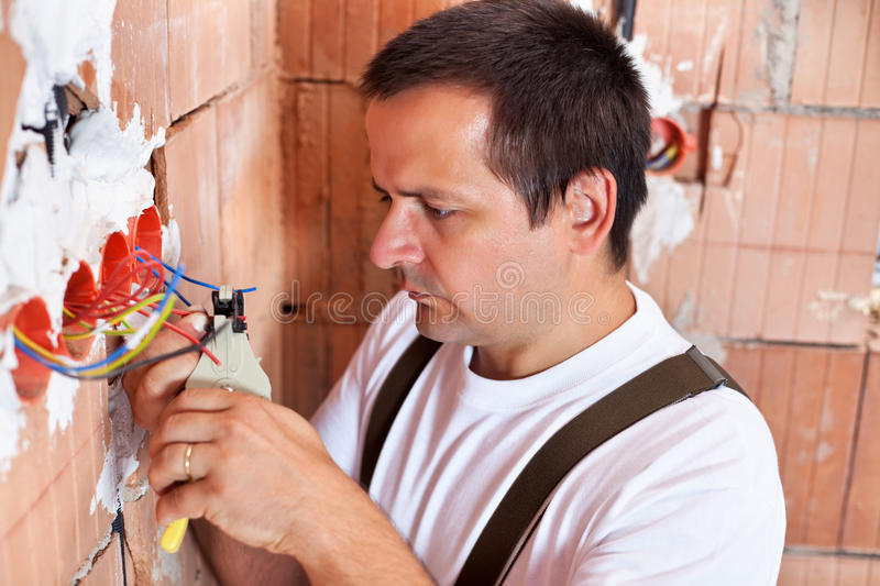 Electrician working royalty free stock photo