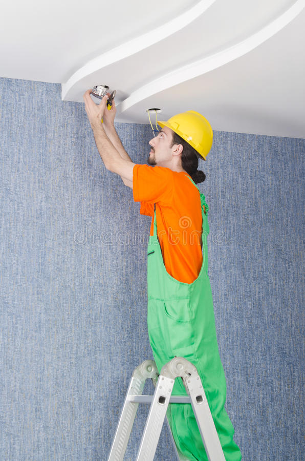 Download Electrician Working On Cabling Stock Image - Image: 24556075