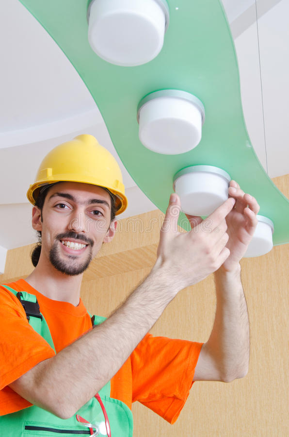 Electrician Working On Cabling Royalty Free Stock Photos