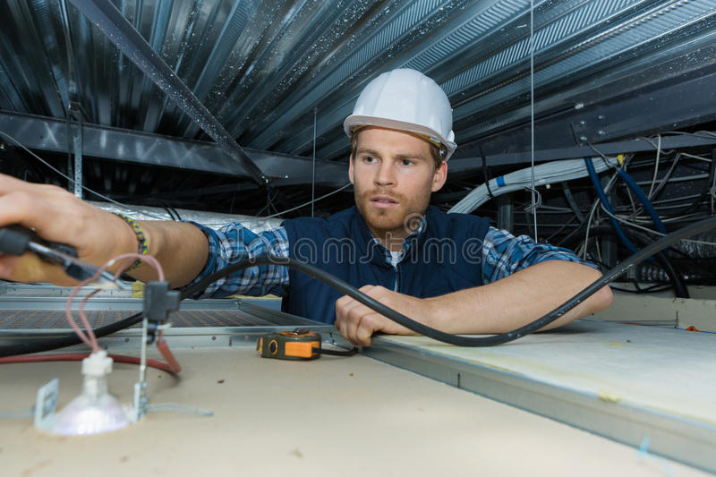 Download Electrician Working With Electric Wires In Factory Stock Photo - Image of checking, safety: 83394432