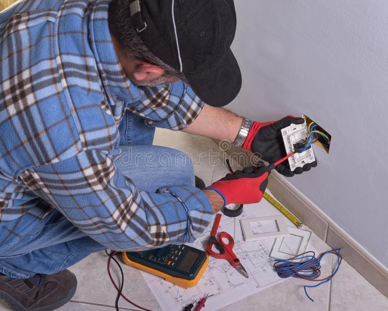 Electrician working in the electrical plant. royalty free stock photography