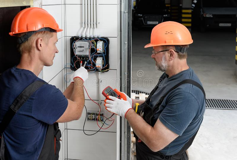 Electrical work indoors stock image