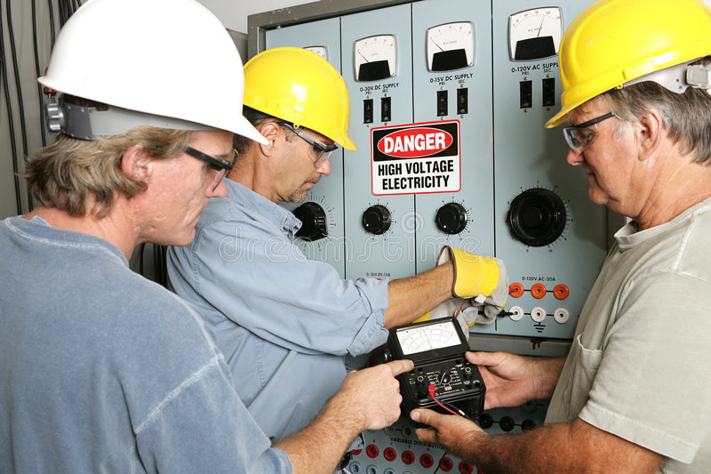 Electricians on High Voltage royalty free stock photography