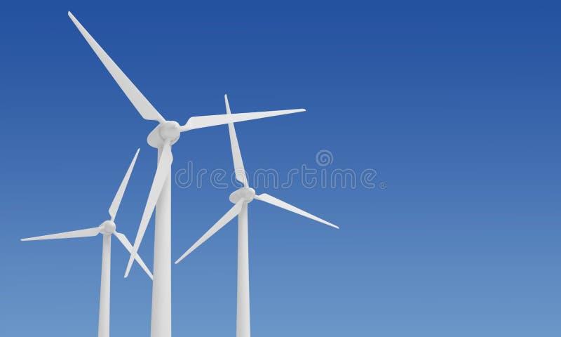 Electricidad alternativa de la energ?a de la turbina de viento stock de ilustración