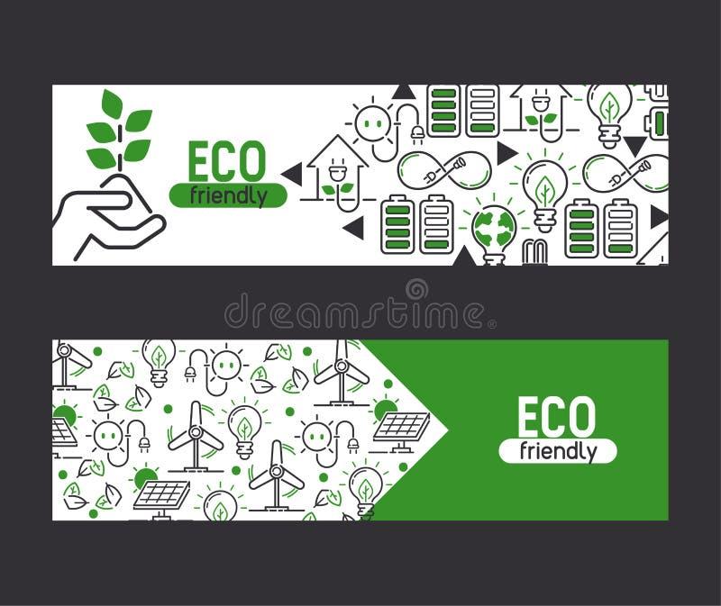 Electricidad del vector de la energía y energía eléctrica de los bulbos del poder del eco de la tierra del contexto del ejemplo d stock de ilustración