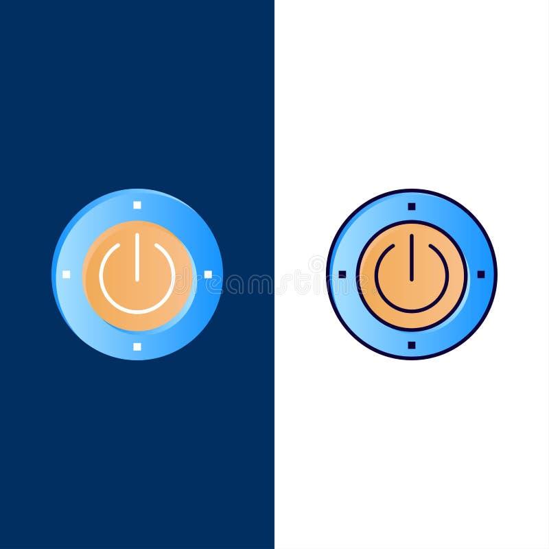 Electricidad, energía, poder, iconos computacionales El plano y la línea icono llenado fijaron el fondo azul del vector ilustración del vector