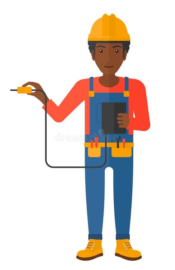 Electricista con el equipo eléctrico ilustración del vector