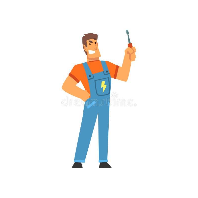 Electricista profesional sonriente con el destornillador, carácter eléctrico del hombre en guardapolvos azules en el ejemplo del  libre illustration