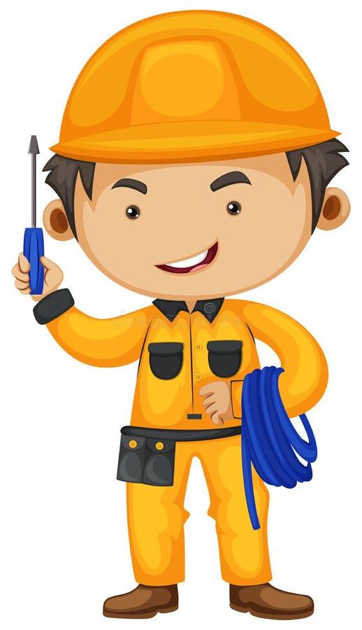 Electricista que sostiene el destornillador y el alambre libre illustration