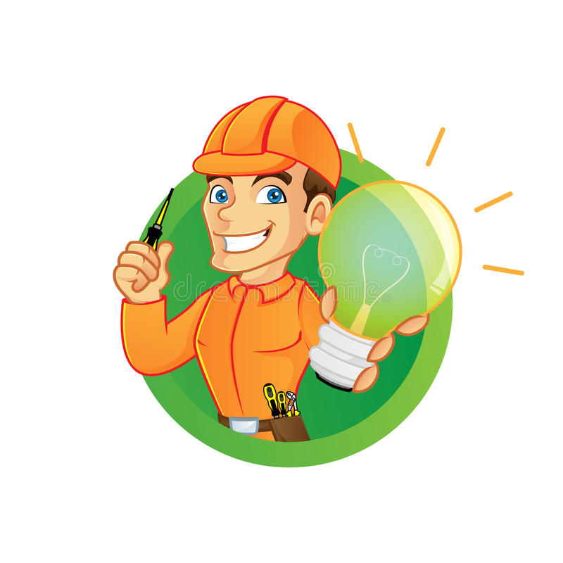 Electricista que sostiene la bombilla y el destornillador stock de ilustración