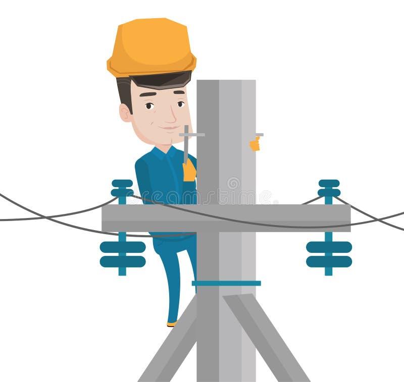 Electricista que trabaja en polo de la energía eléctrica stock de ilustración