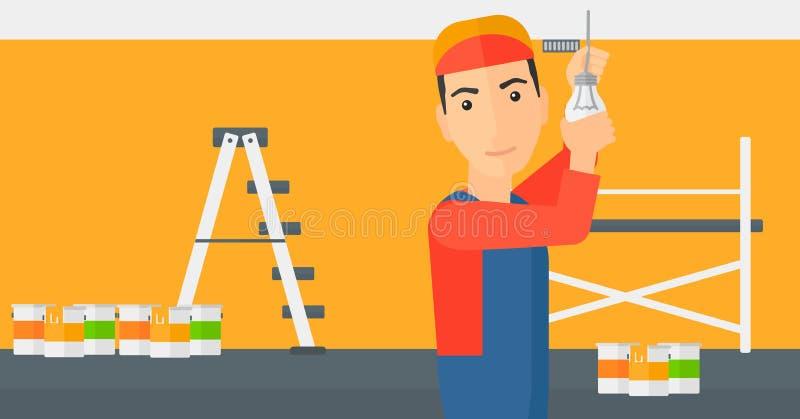 Electricista que tuerce la bombilla stock de ilustración