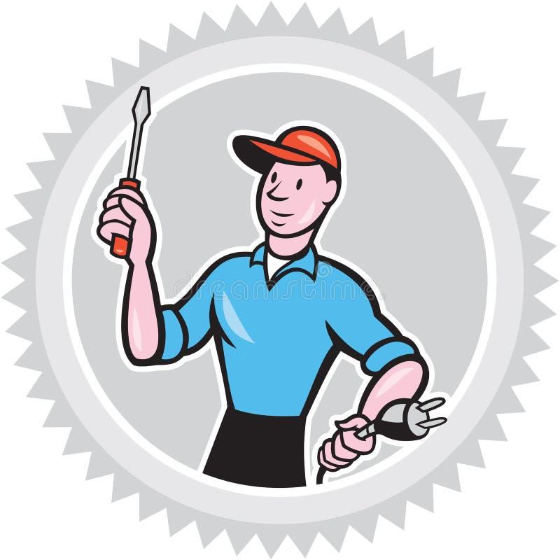 Electricista Screwdriver Plug Rosette Cartoon libre illustration