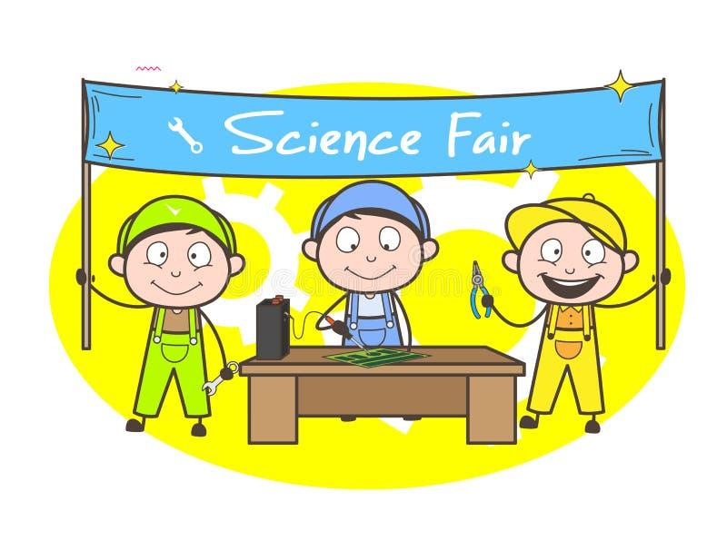 Electricista Students Doing Experiments de la historieta en feria de ciencia stock de ilustración