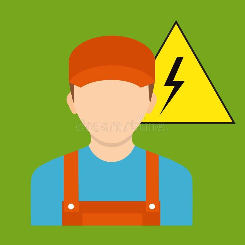Electricista Worker Muestras eléctricas del icono de la seguridad del trabajo aisladas stock de ilustración